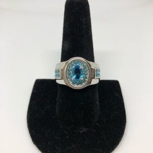 Silver and blue cocktail ring